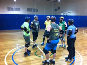 Up N Atom leads a session with LCD's Regimental Rollers